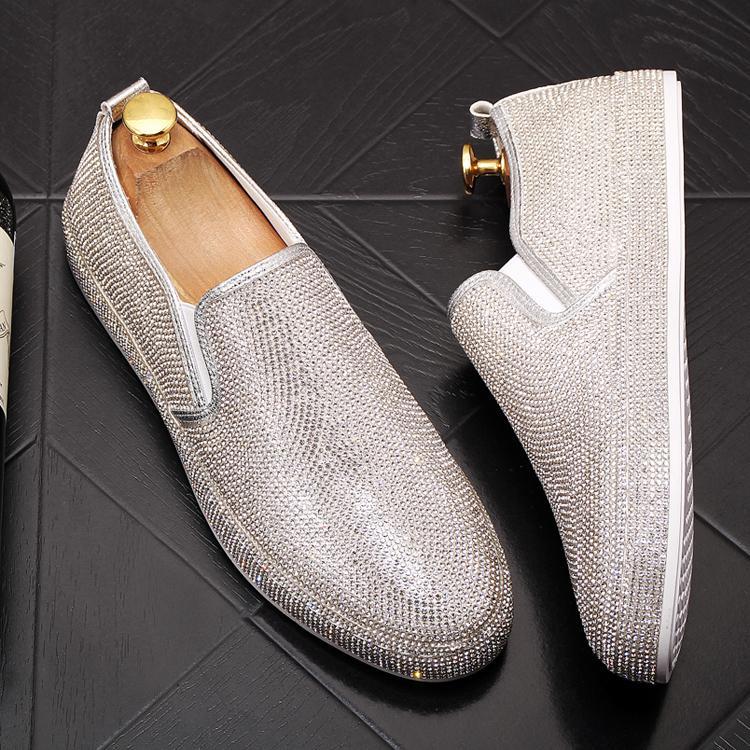 Heren Schoenen zapatos de vestir de los hombres Zapatillas Hombre rhineston plana negocio de los zapatos ocasionales de los holgazanes masculinos zapatos de boda formales más el tamaño 38-43 296