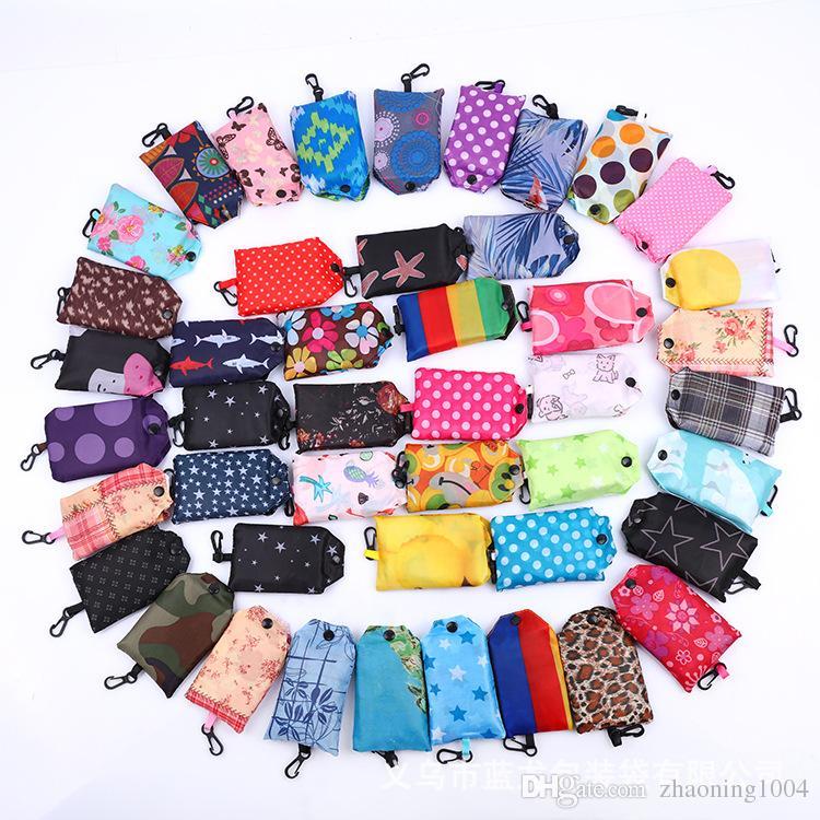 Foldable Tote Shopping Bags Eco Friendly Reusable Folding Bag For Woman Men Waterproof Storage Reusable Pouch Plain Colors Sale