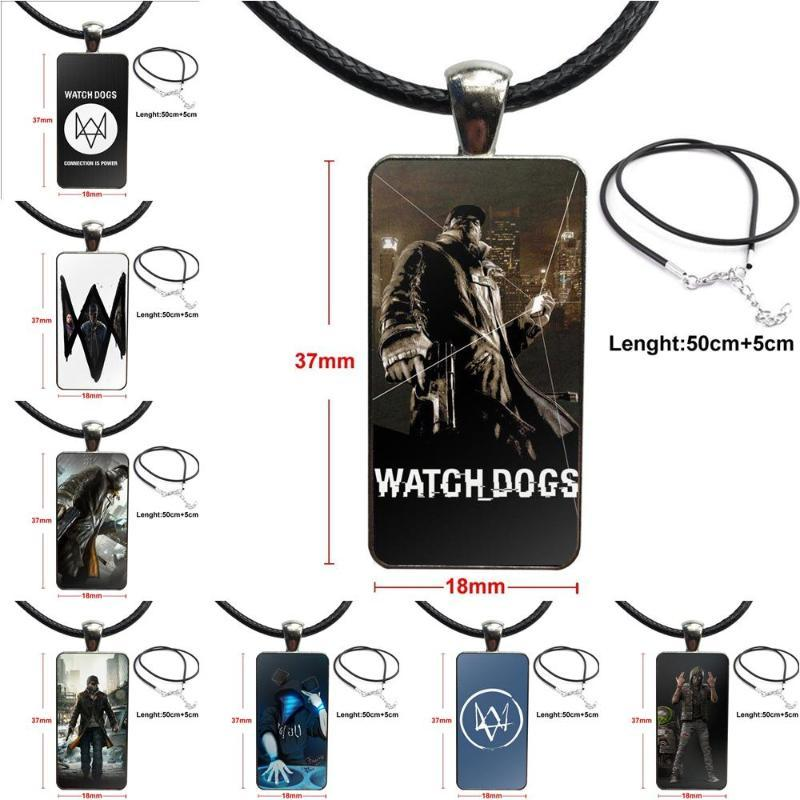 Vintage Jewelry Steel Plated With Glass Cabochon Choker Long Pendant Rectangle Necklace For Men Women Gift Watch Dogs Game Cheap
