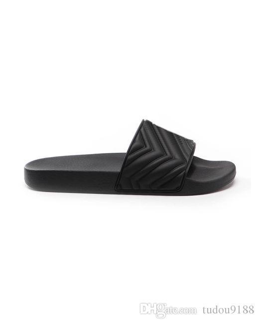 Cruise 2020 delle donne degli uomini unisex nero sandali diapositive Matelasse gomma piatta pistoni della spiaggia plantare in gomma stampata