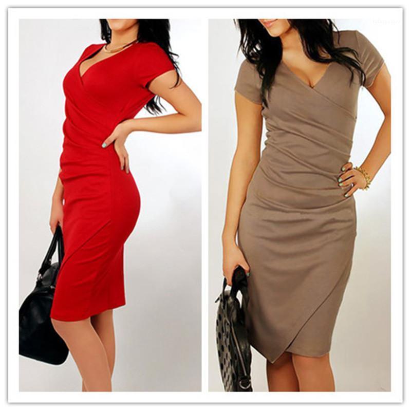 Rouge Mode Vêtements Femme de bureau élégant dames robe à manches courtes Slim Wrap Hip Asymétrique Robes d'été Femmes Café Noir