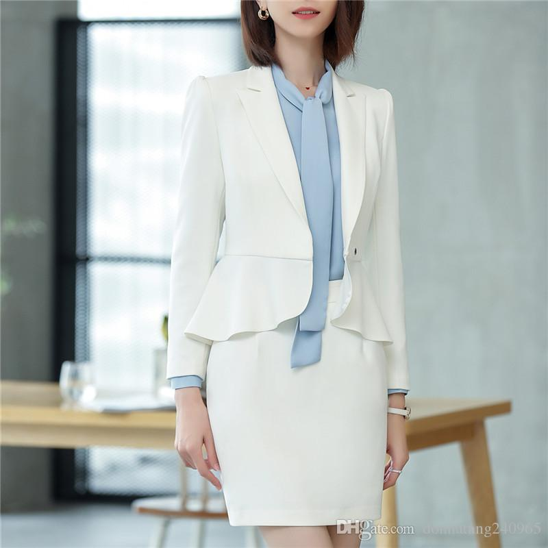 Formal Female Skirt Suits for Women Business Suits Grey Blazer and Jacket Sets Ladies Work Wear OL Styles Skirt Suit 2pcs 6802