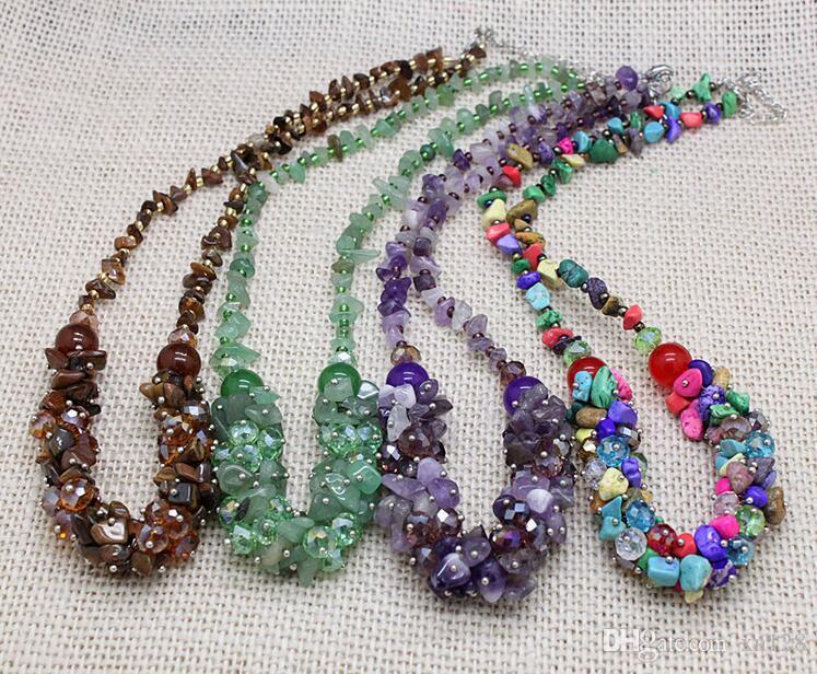 Hochwertige handgemachte original Kies Kristall kurze Halskette Kette direkt ab Werk Großhandel böhmischen Wind multicolor