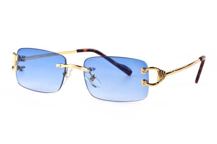 Novos óculos de sol da moda do vintage para mulheres dos homens liga de metal pernas douradas sem aro óculos moldura búfalo lunetas com acessório completo