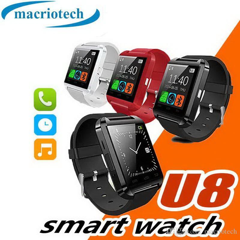 Bluetooth U8 Smartwatch Relojes de pulsera Pantalla táctil iPhone 7 Samsung Android Phone Sleeping Monitor Reloj inteligente con paquete al por menor