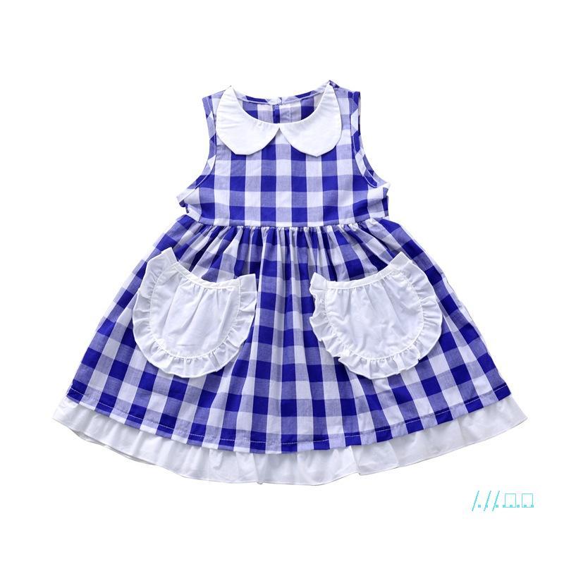 Filles robes D'été 2020 Bébé Fille Blanc Bleu Plaid grille imprimé Preppy Style Dentelle Princesse Robes Enfants Enfants Vêtements CZ416
