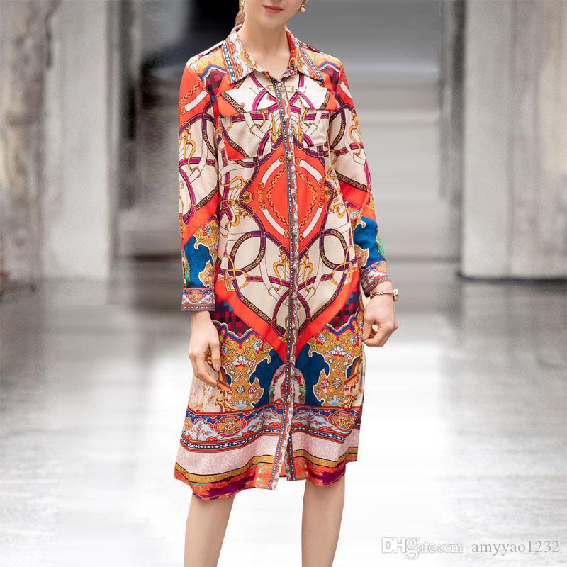 118 2019 Spring Runway Dress Marca Stesso stile Flora Stampa manica lunga sopra il ginocchio bavero collo Button Plus Size Abbigliamento donna AS