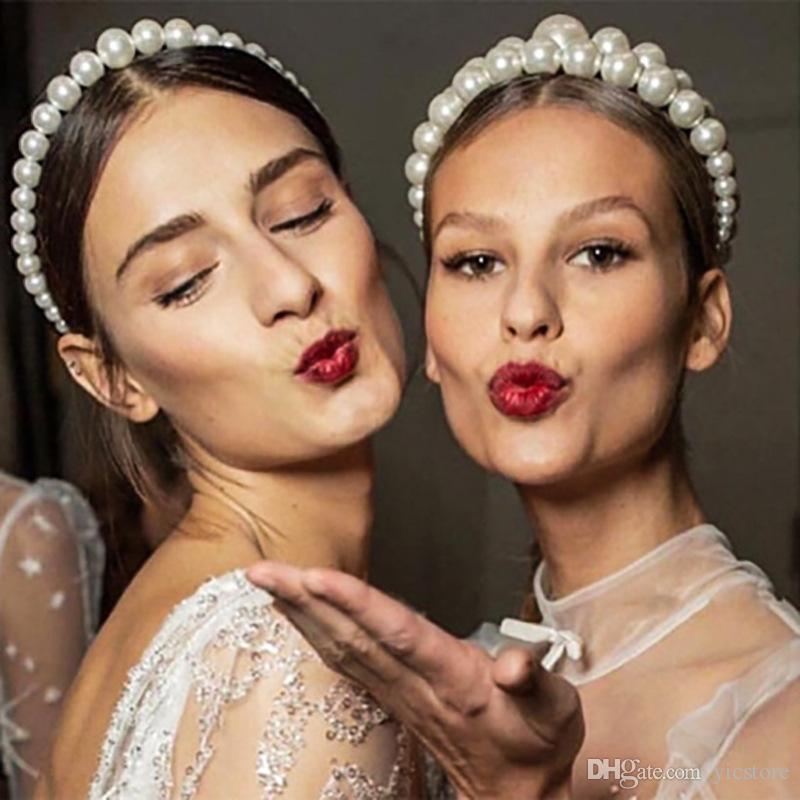 Gran lujo imitación de pelo de la perla del aro de Diseño moda de la perla de la venda para las mujeres joyería elegante de la fiesta de bodas Sombreros chica Accesorios para el cabello