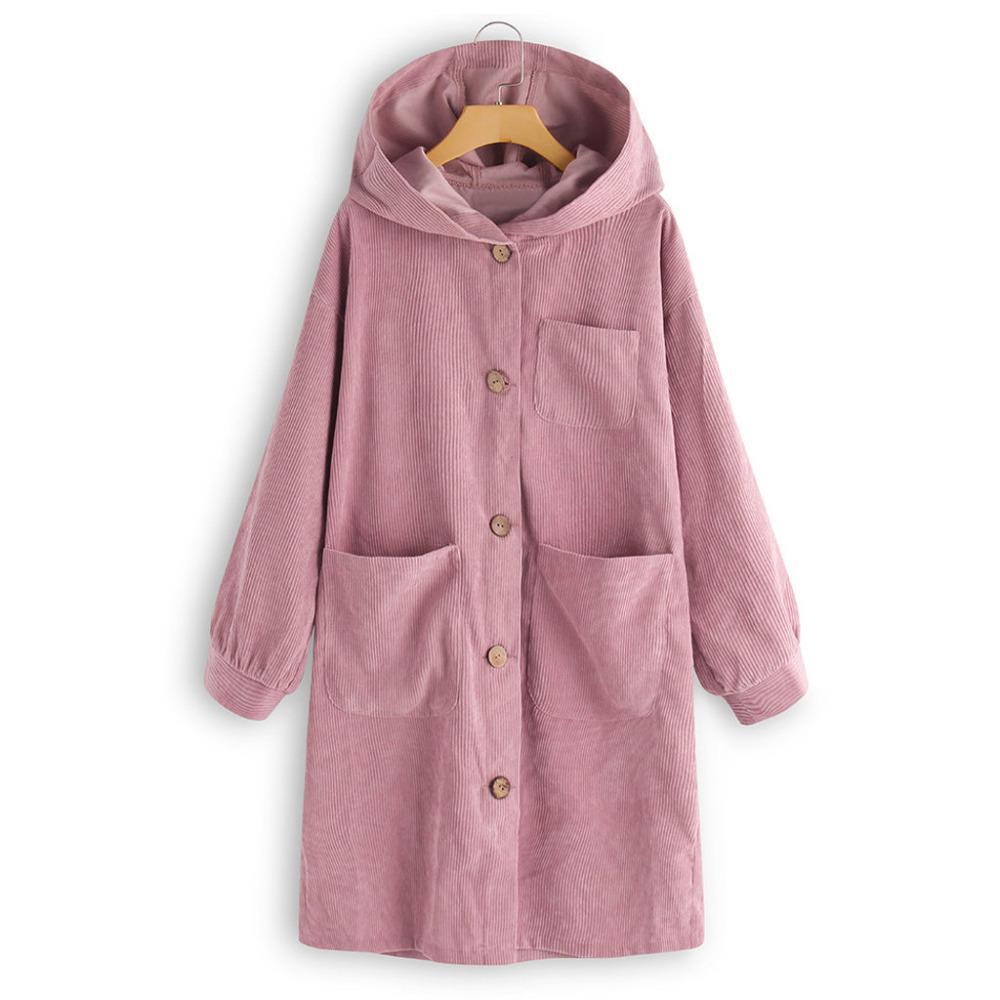 Frauenwolle-Mischungen Frauenmäntel Winter 2021 Übergroße Langarm-Button Down Casual mit Kapuze Taschenjacke Mantel Strickjacke Chaquetas Mujer # 4n2