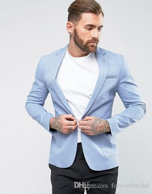 Light Blue Casual Men Suits Slim Fit Wedding Bridegroom Suits Two Pieces (Blazer+Pant) Bridegroom Wear Business Formal Tuxedos For Sale
