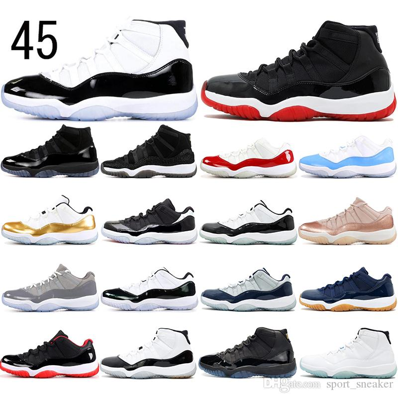 Nike AIR Jordan 11 avec des chaussettes 2019 Concord High 45 11 11s Heiress Gym Rouge Chicago Platinum Tint Space Jams EMERALD Chaussures de basket-ball de sport Sneakers 36-47