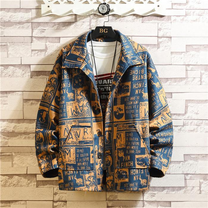 Coat Mens Lettera allentato Giacche risvolto del manicotto lungo High Street Autunno Inverno Maschio MONOPETTO Abbigliamento