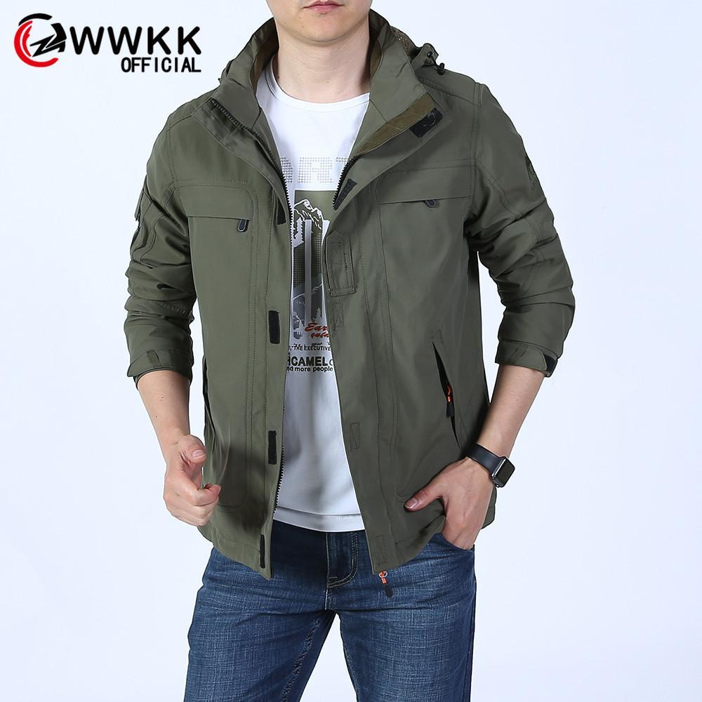 WWKK 2019 새로운 패션 방수 후드 가죽 파일럿 재킷 야외 지퍼 소프트 쉘 스포츠 용 재킷 힙합 스트리트 폭탄 재킷