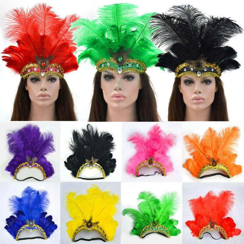 US Indian Crystal Crown Feather Headband Headdress Carnival Headpiece Headgear