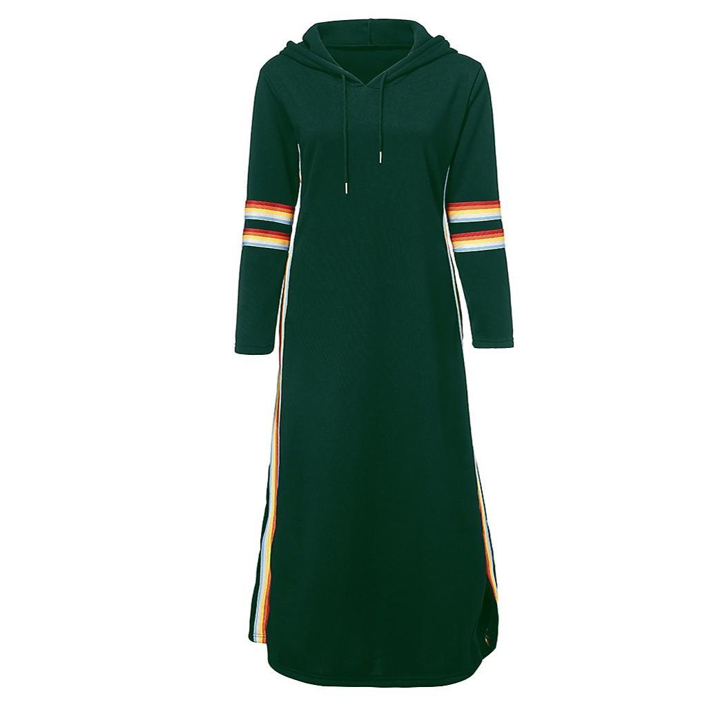 Plus Size Kleid Frauen Maxikleider Sexy Regenbogen-Streifen Hoodie Long Sleeve Lange Hem Split-Kleid mit Taschen beiläufige lose Vestidos