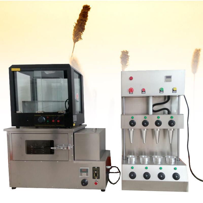 110V / 220V beliebter Handheld-Pizzahersteller kommerziellen Edelstahl Pizza Kegel Kegel-Maschine mit Pizza Vitrine Ofen