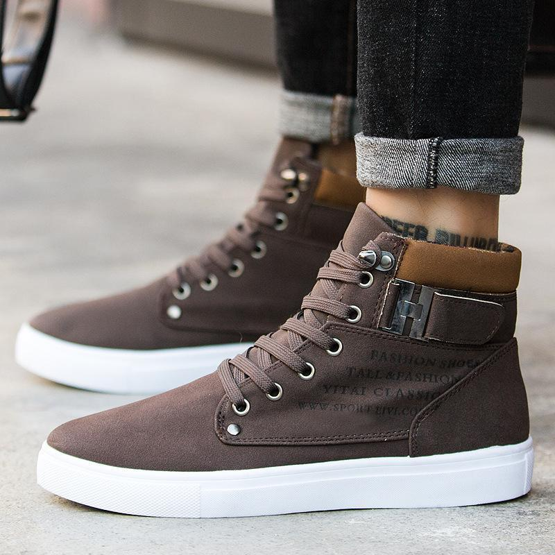 New Men/'s Lace Up Canvas Ankle Boots Round Toe Trainers High Top Combat Shoes