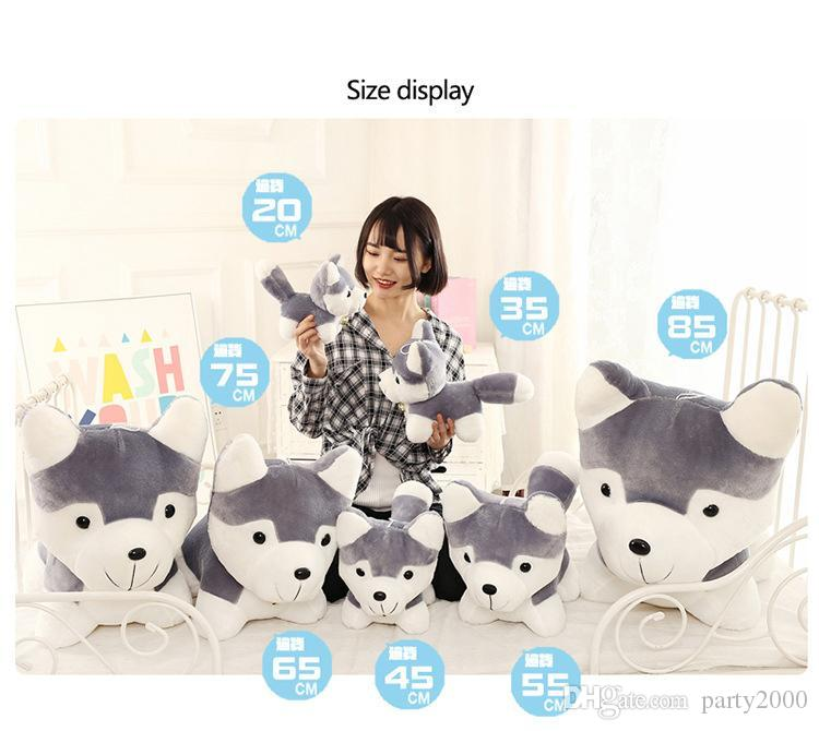 سيبيريا كلب الاسكيمو دمية 2 هو أفخم لعبة الكلب كبير محاكاة الحيوان دمية دمية الأطفال النوم وسادة f33