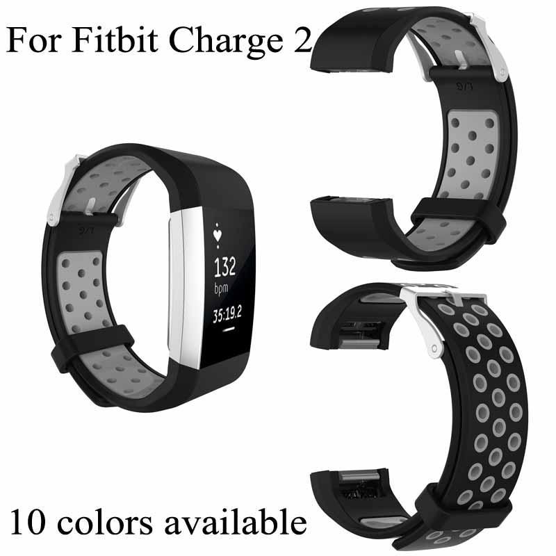Per silicone Hole Fitbit Charge2 Dual Color rotonda Wrist Band carica 2 Strap Bracciale intelligente con acciaio Classic Buckle