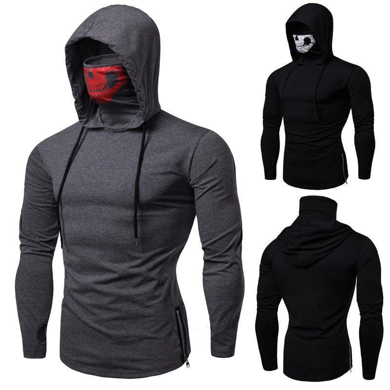 Herren Hoodies Sweatshirts Plus Size Kleidung Elastic Sweatshirt Maske Schädel Reine Farbe Pullover Tops Lose Kapuzenanzug