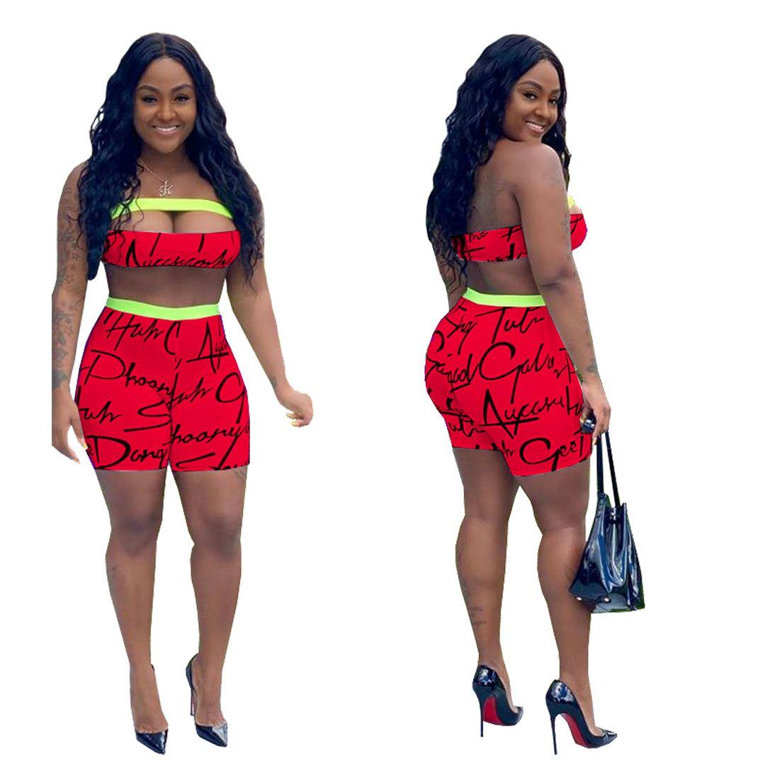 Woman Two Piece Outfit Summer Letter Print Bra Top Shorts 2PCS Set Slim Designer Female Clothing