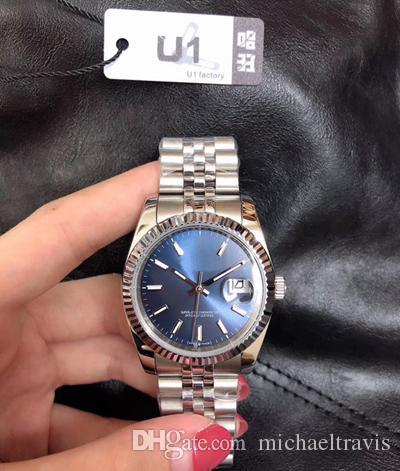 U1 Fabrika 36mm Unisex Bay Bayan Saatler Otomatik Mekanik Safir Elmas Jübile Paslanmaz Çelik Bayan Saatleri Erkek Kadın saatı