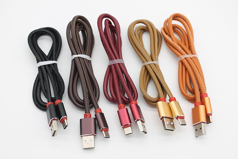 2.4A Тип C кабели сплава кожаный кожаный USB для фиксированного кабеля для зарядки в виде C через DHL 500+