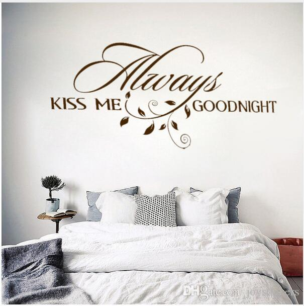 Always Kiss Me Goodnight Loving Art Wall Decal Removable Vinyl Quotes Wall  Stickers Mural For Bedroom Home Decor Home Decals For Decoration Home ...