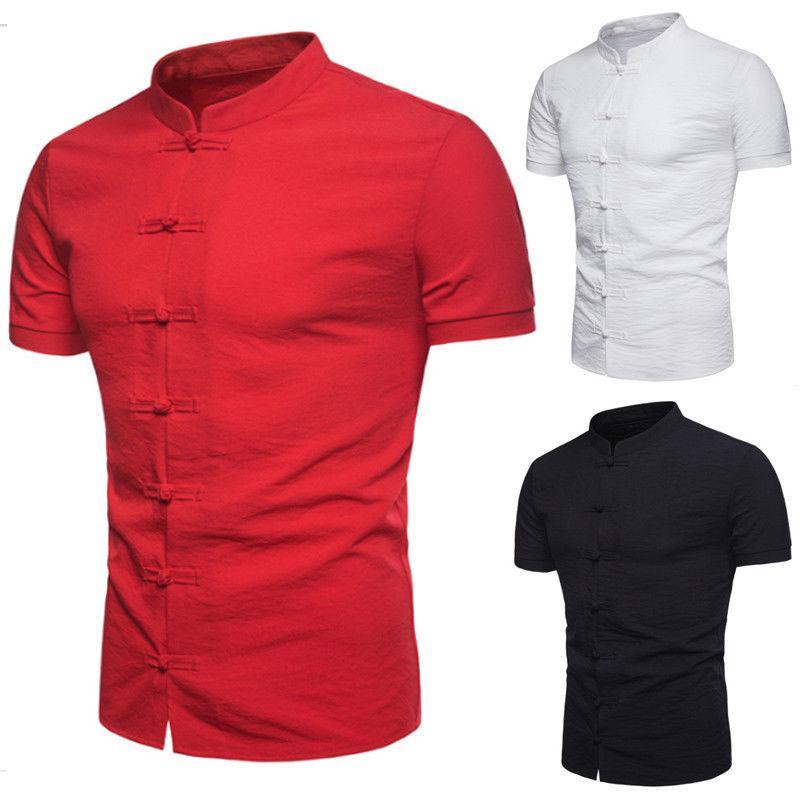 Neue chinesische Art-T-Shirts Frauen Disc Buckle Solid Color Tops Short Sleeve Reinl T-Shirt Retro Stehkragen Top Kleidung