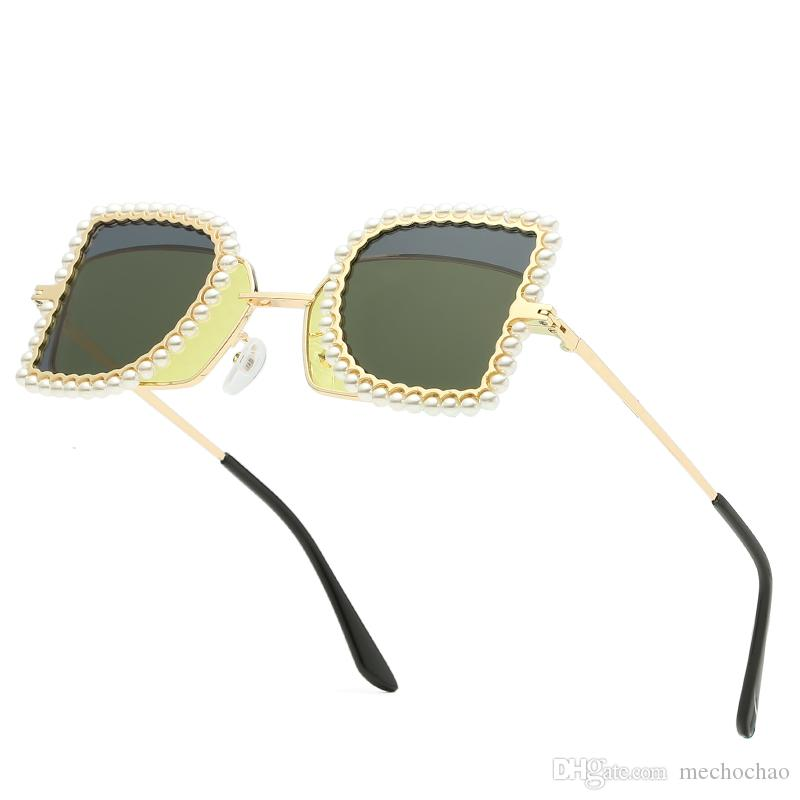Brand Best selling fashion pearl flip sunglasses square semi-circular metal frame sunglasses men's women's brand designer double-sided lens