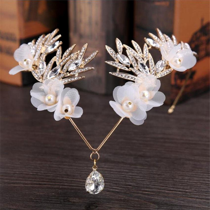 Mhs.sun Bridal Forehead Tiara Rhinestone Crystal Leaf Crown Wedding Flowers Headpiece Jewelry Hair Accessories Headbands Tn1046 J 190430