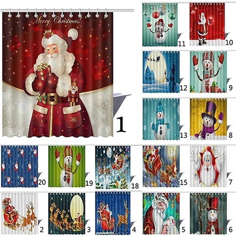 Natale Shower Curtain Babbo Natale del pupazzo di neve renna impermeabile 3D Stampato Bagno Doccia tenda della decorazione con ganci 165 * 180cm XD19967