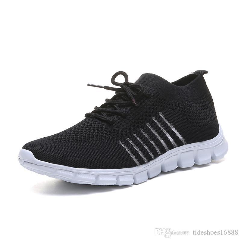 Calcetín de punto de verano Zapatos Mujeres Calzado deportivo para las mujeres grandes de tamaño de los zapatos de las mujeres 35-43 transpirable zapatillas de deporte de las mujeres Negro