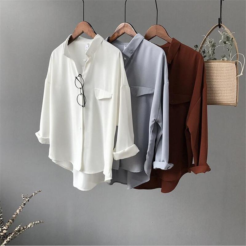 Camisa de blusa blanca de gasa informal de alta calidad para mujer Camisa suelta de manga tres cuartos de gran tamaño Ropa de oficina Casua Tops Blusas SH190829