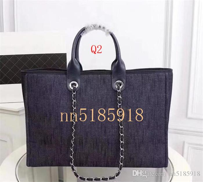33922c71de9d ... 2019 мода новых женщин холст сумка дизайнер пляжная сумка цепи фабрика  самая низкая цена размер 43 ...