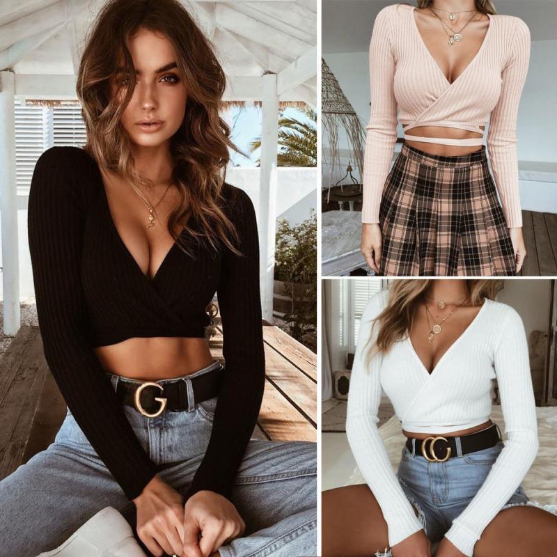 2020 Yaz Kadın İnce tişört Siyah Beyaz Haki Uzun Kollu T gömlek Çapraz V yaka seksi Crop Top