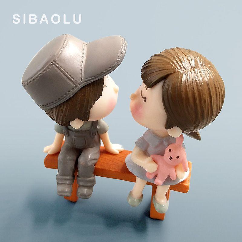 Amoureux Couple Mode Figurines Miniatures mariage poupée fée décoration Jardin Décoration Bricolage Accessoires Mariage