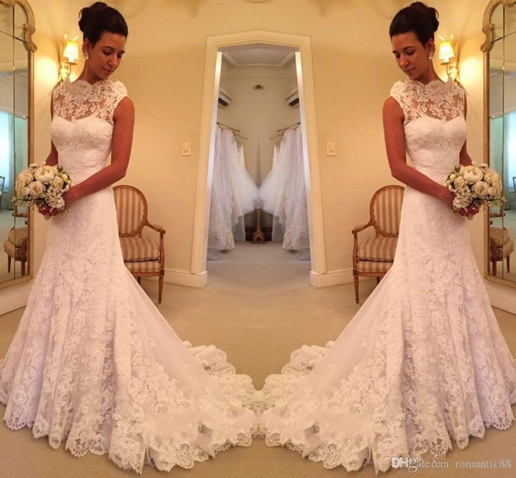 2019 아름다운 레이스 민소매 인 어의 웨딩 드레스 판매에 스위프 층 높은 목 스위프 기차 Scalloped 계층 스커트 웨딩 가운