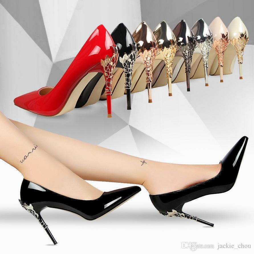Sexy2019 Free Shipping Ladies Metal Style Pointed Toe Wedding Shoes Patent Leather Stiletto Heel Pumps For Party 8 Colors 9219-7