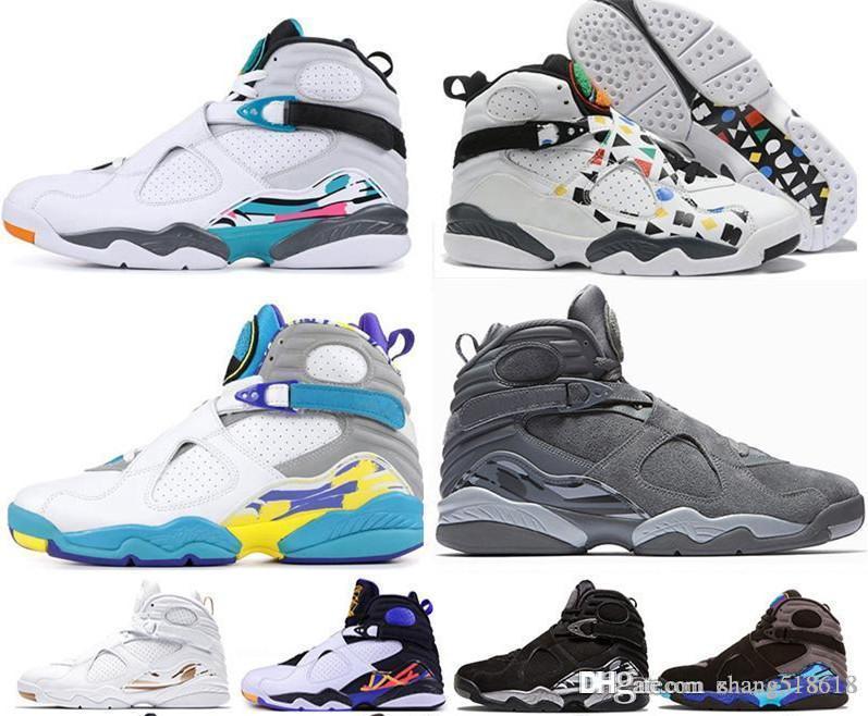 2019 8 8s Hommes Basketball Chaussures Aqua Chrome Countdown pack Valentines jour 3PEAT ÉLIMINATOIRES Entraîneur Hommes Sport Sneaker US7-US13