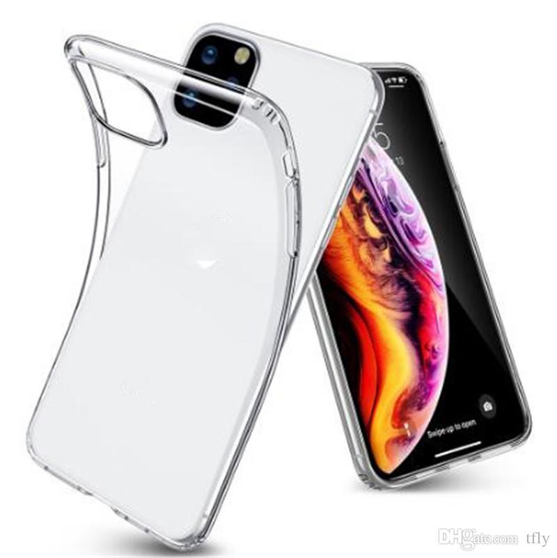 Garantizó la caja del teléfono transparente para iPhone 11 Pro Max Ultra Thin Claro cubierta suave del caso de TPU para el iPhone XR X XS Max 7 8 6 más Nota 10 Samsung