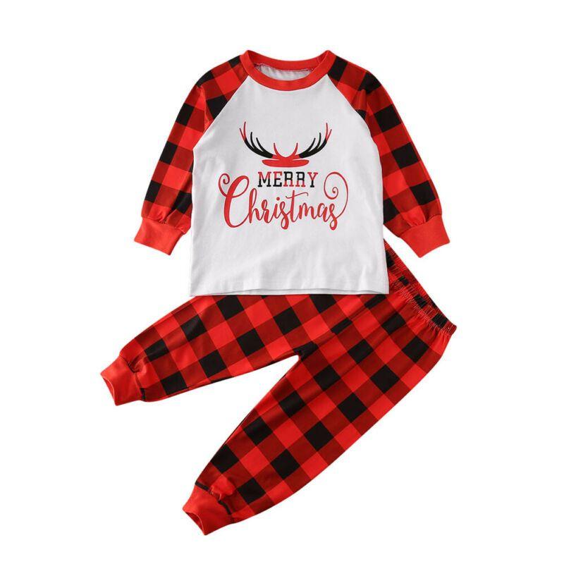 2019 عائلة الكبار عيد الميلاد للأطفال بيجامة مجموعة عيد الميلاد كم طويل تي شيرت بنطلون منقوش مجموعات نوم ملابس نوم جديدة