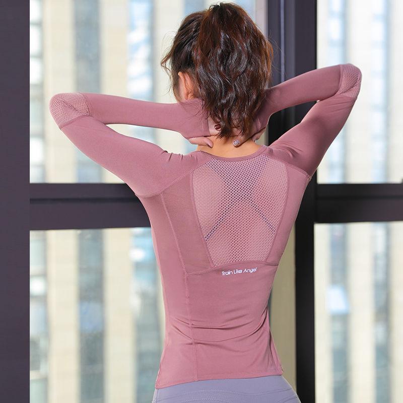 Yoga verano de las mujeres sin fisuras Tops Yoga Tops manga larga para mujer de malla Gimnasio usar camisas de la ropa del deporte del deporte delgado desgaste atractivo de Cultivos Top