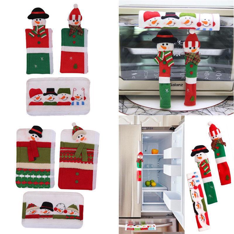 3шт Снеговик Рождество Xmas холодильник, микроволновая печь ручка двери крышки ручки двери крышка декор