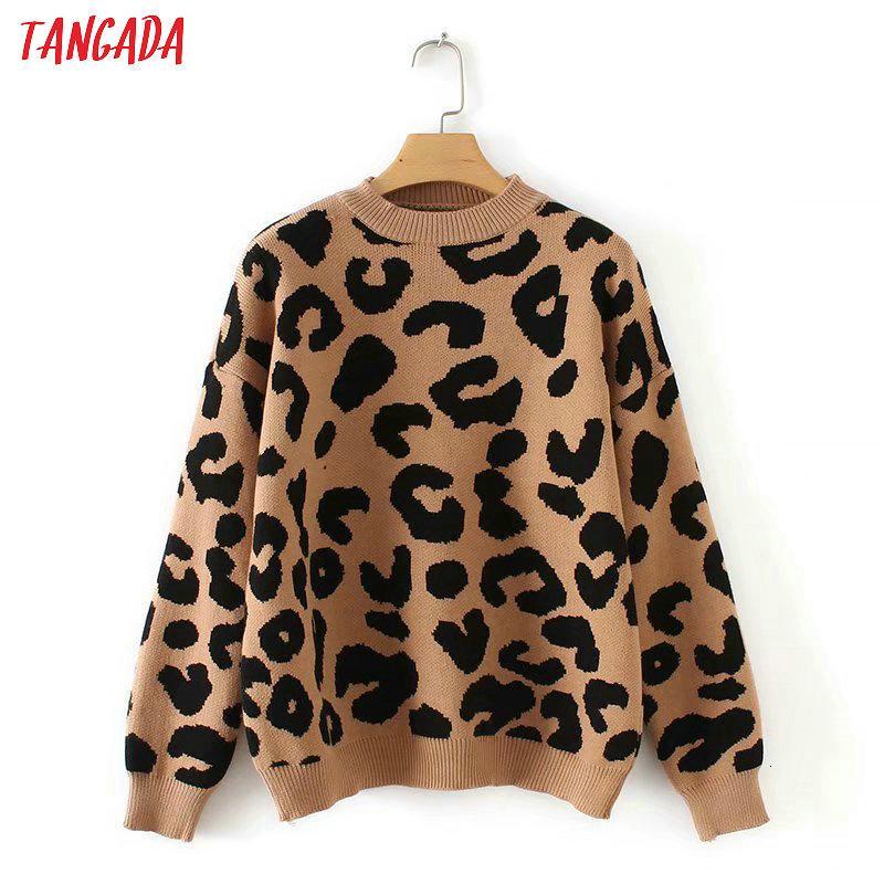 Tangada Frauen Leopard gestrickte Pullover Winter Tierdruck Winter dicke lange Hülse weibliche Pullover lässig Tops 2x05 Y191019