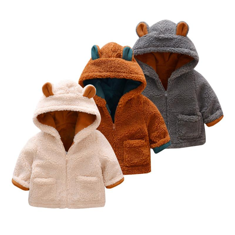 Jungen-Mantel mit Velvet Kinder verdickte Jacke Kinder Mantel Jungen Kapuzenjacke für Baby Jungen Baby-Kleidung Winter-