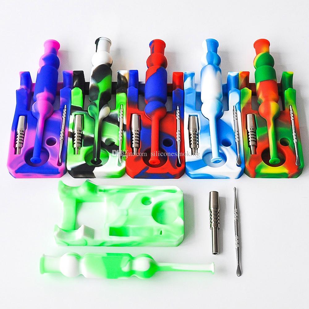 kit de envío del silicón néctar del colector de aceite del colector de 14 mm conjunta Ti clavo de néctar Plataformas bongs de vidrio tuberías de agua de cristal