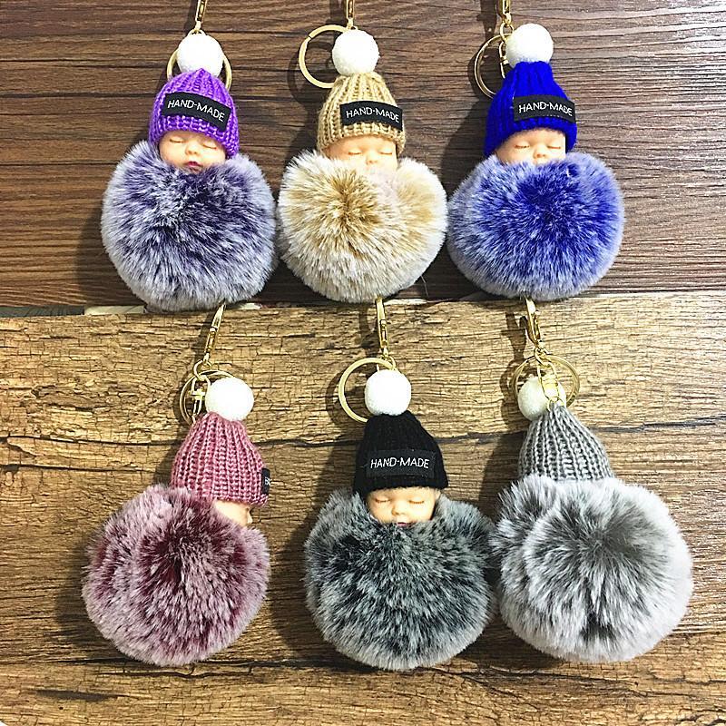Fake Rabbit Fur Ball KeyChain Pompom Crown Sleeping Baby Key Chain Pom Pom Key Rings Ballet Girl Women Bag Jewelry