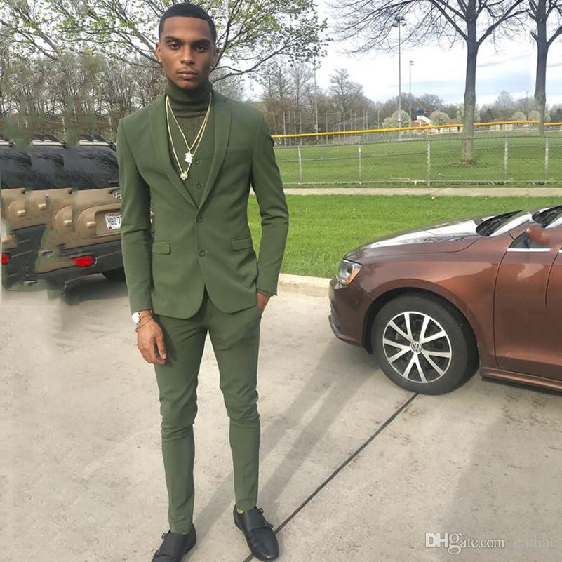 Green Slim Fit Casual Mens Suits 2020 Wedding Tuxedos Groom Wear 3 Pieces (Jacket+Pants+Vest) Fromal Prom Suits Costume Homme