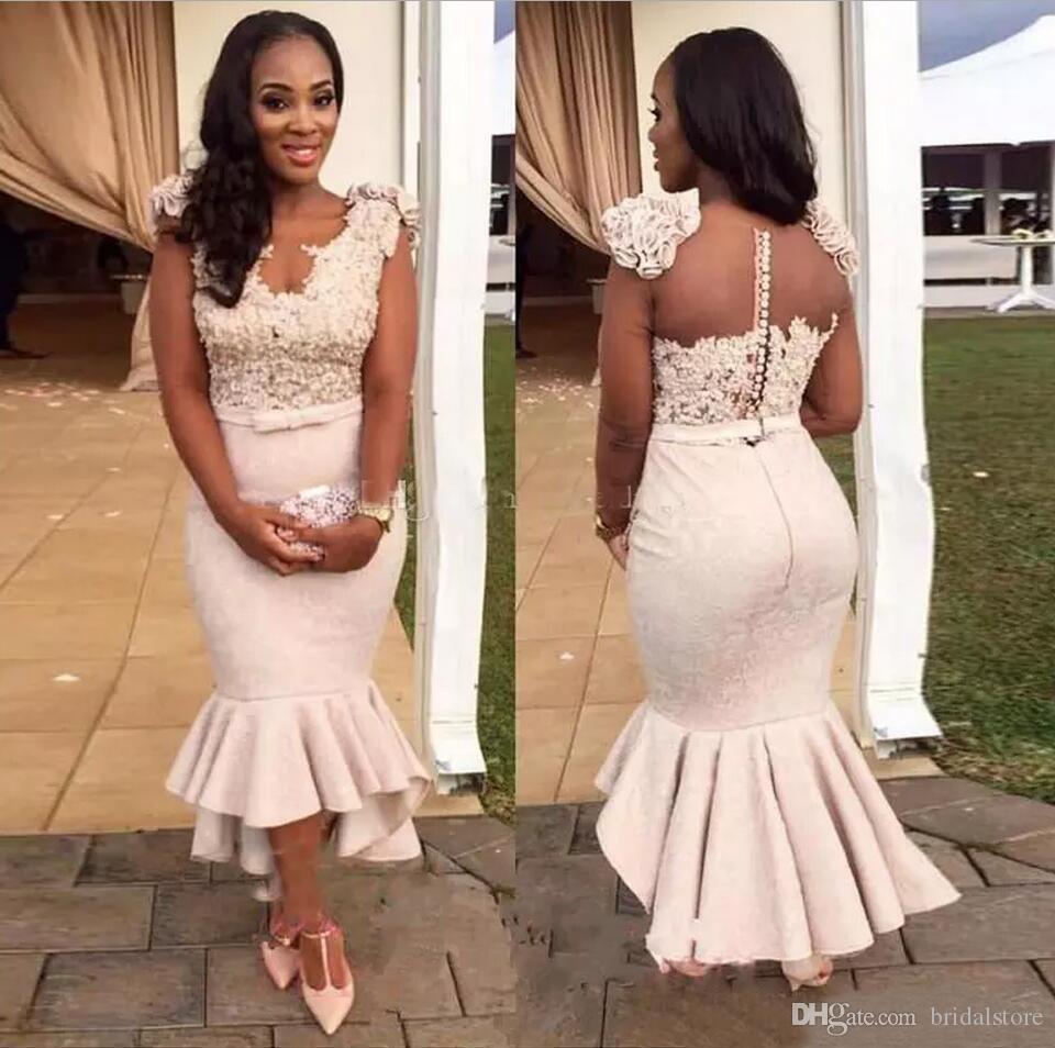 De vraies photos robes de soirée sirène sexy courte dentelle satin volants robes de soirée salut-Lo robe de bal appliques bouton pour la fête des femmes africaines